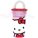 Hello Kitty Plastglas med Sugrör 400 ml